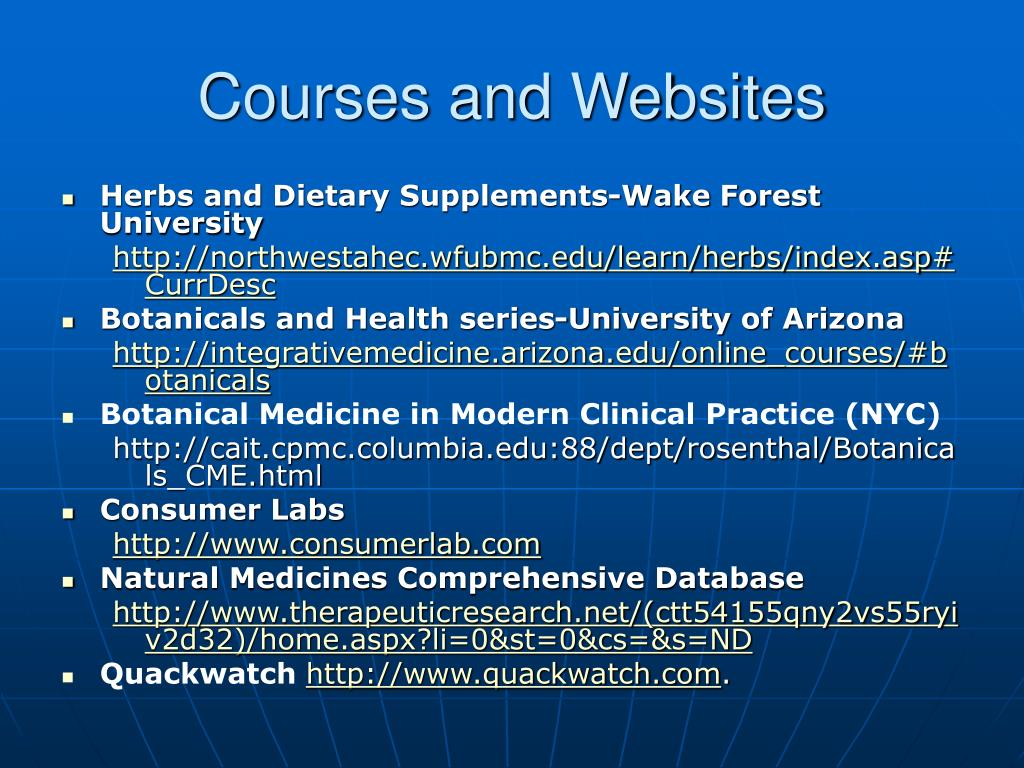 Courses and Websites