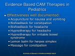 evidence based cam therapies in pediatrics