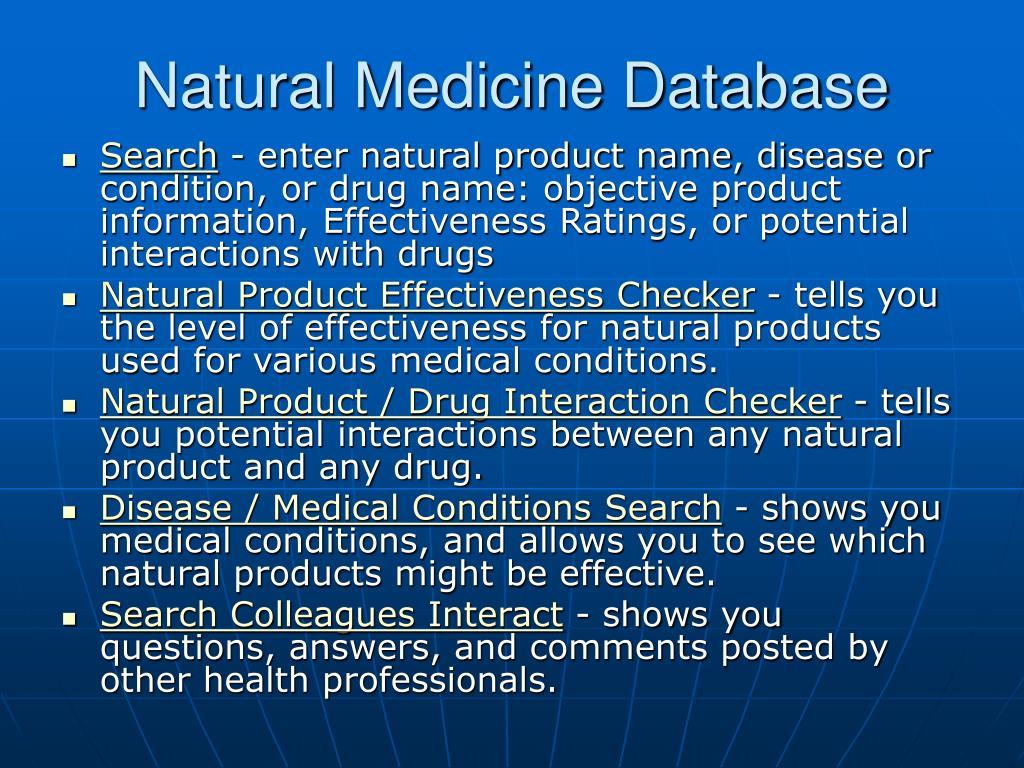 Natural Medicine Database