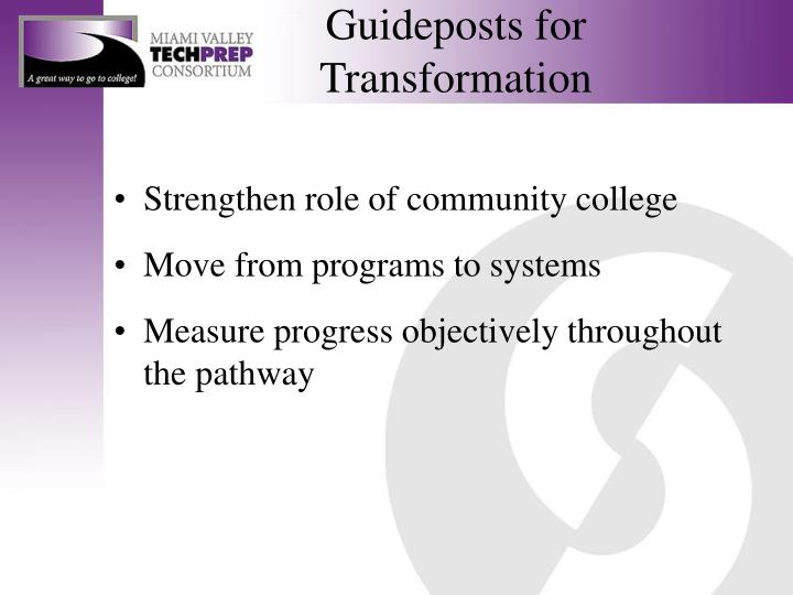 Guideposts for transformation