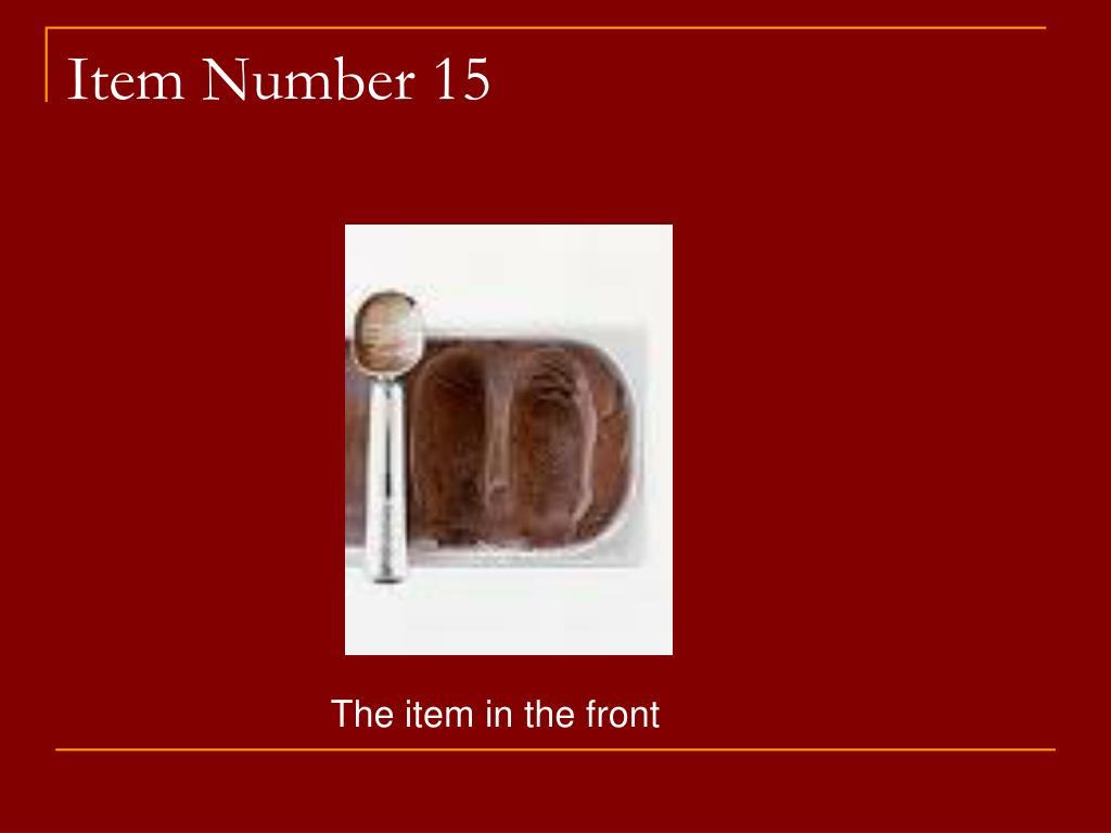 Item Number 15
