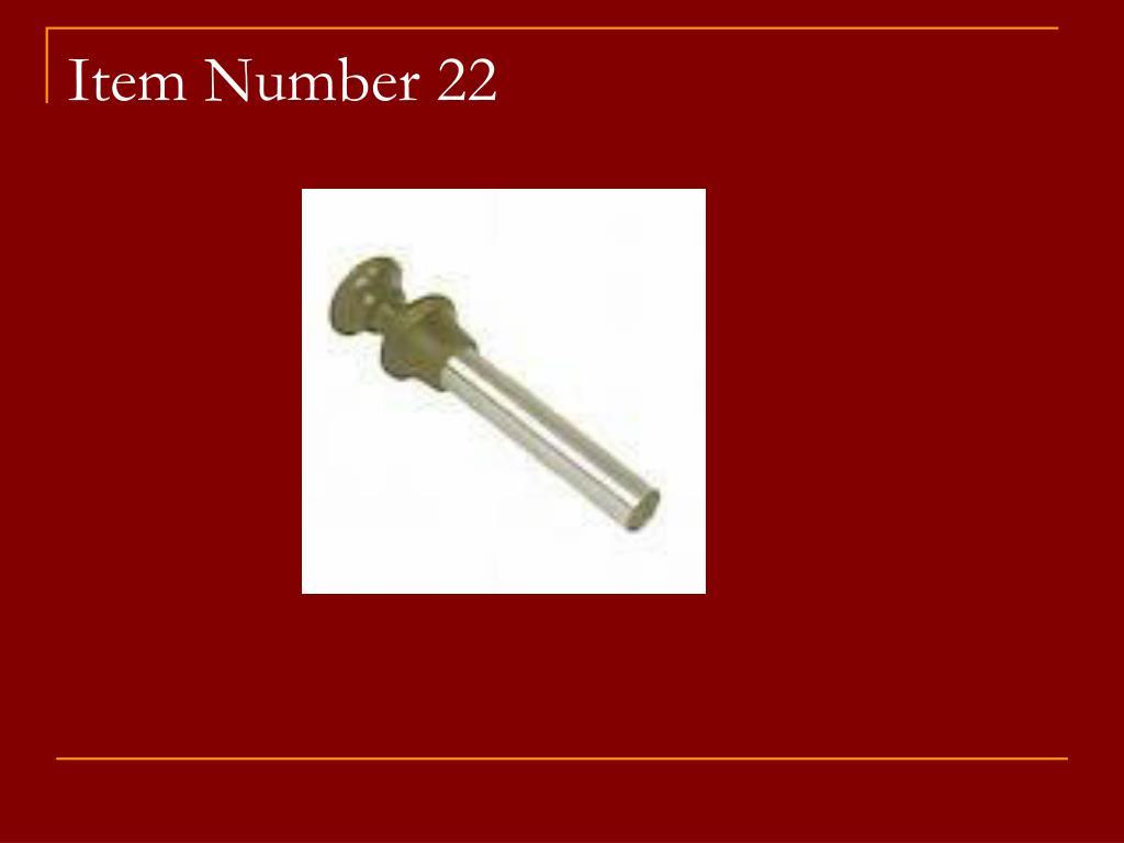 Item Number 22