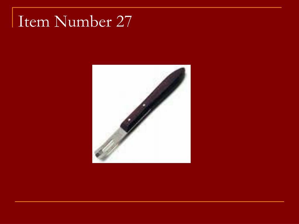Item Number 27