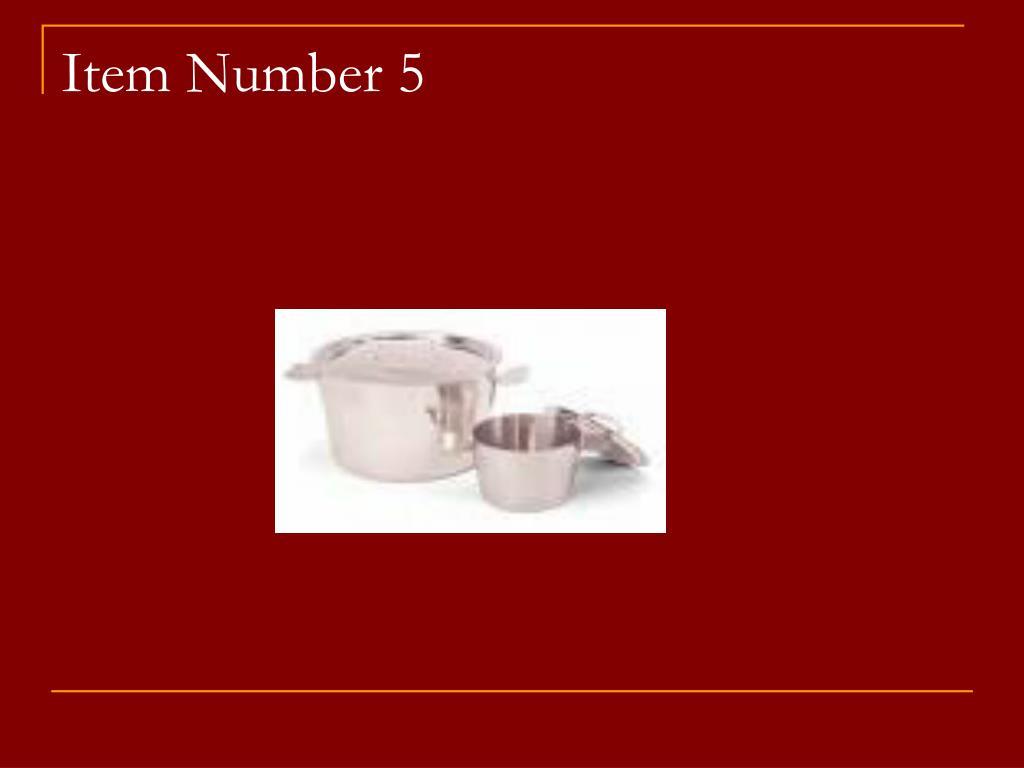 Item Number 5