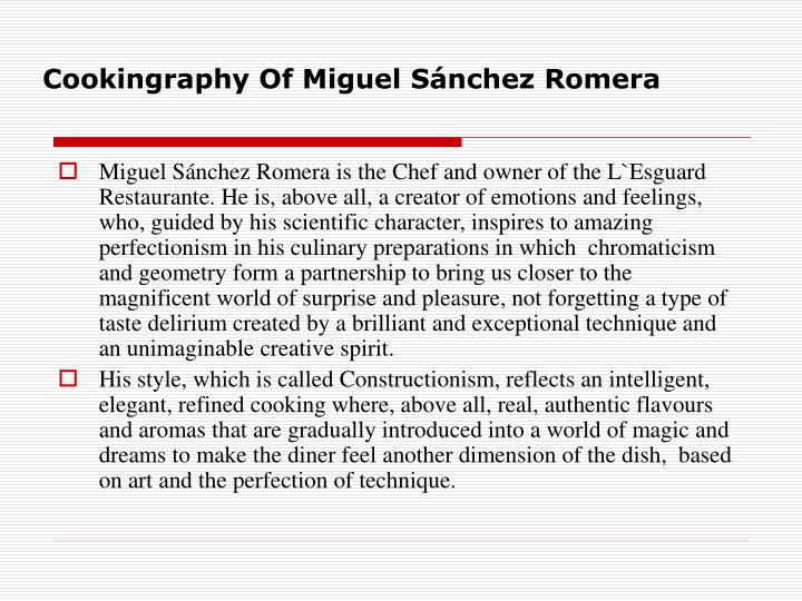 Cookingraphy of miguel s nchez romera