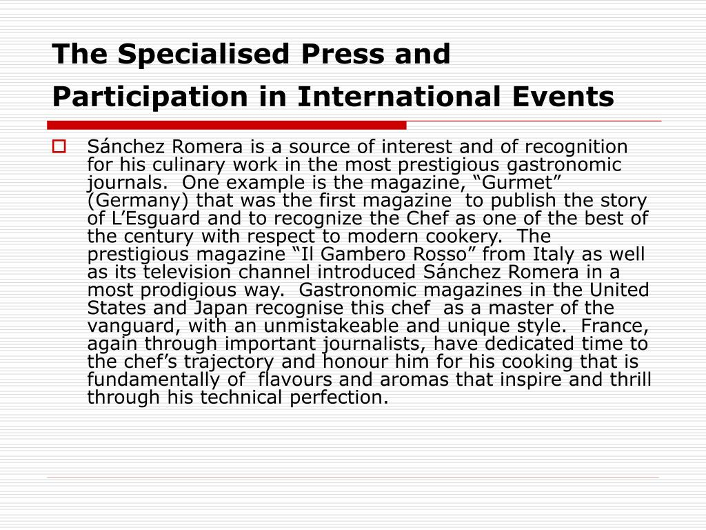 The Specialised Press and Participation in International Events