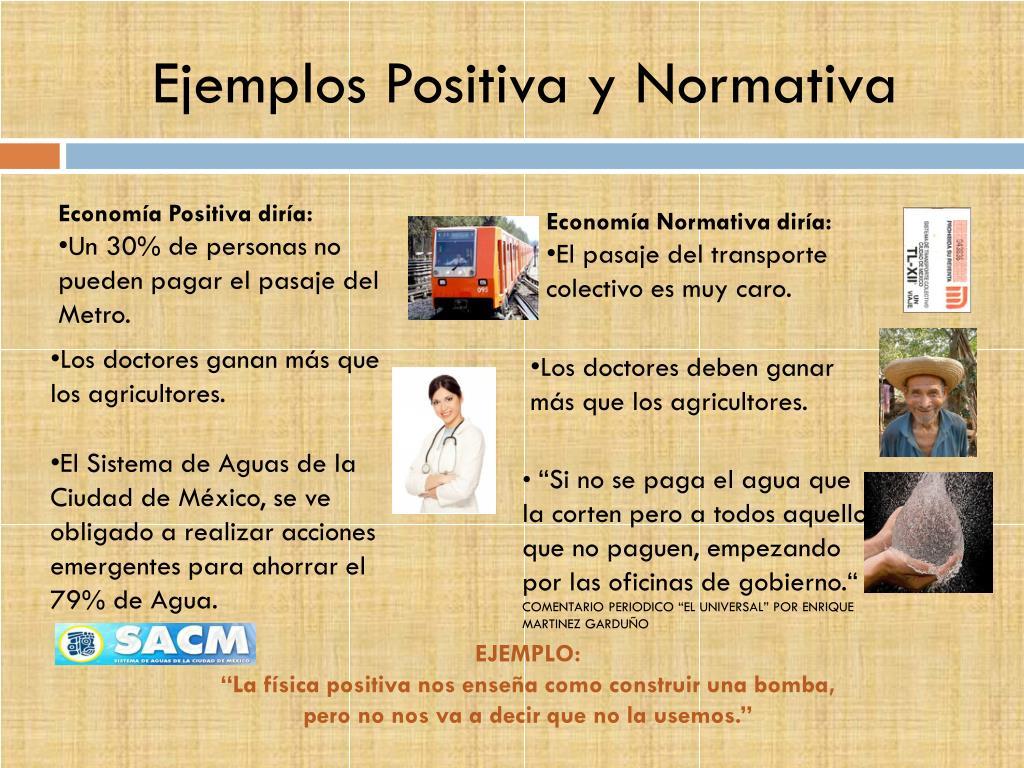 Ejemplos Positiva y Normativa