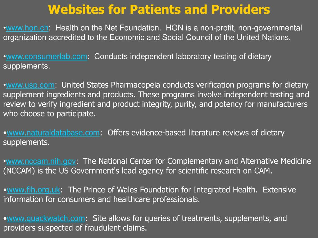 Websites for Patients and Providers