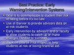 best practice early warning intervention systems
