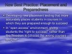 new best practice placement and preparedness