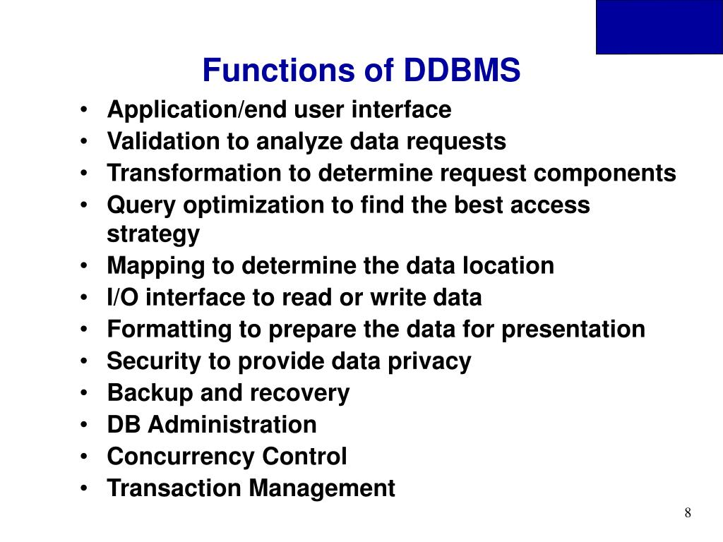 Functions of DDBMS