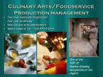 culinary arts foodservice production management
