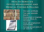 health services office management and medical coding billing