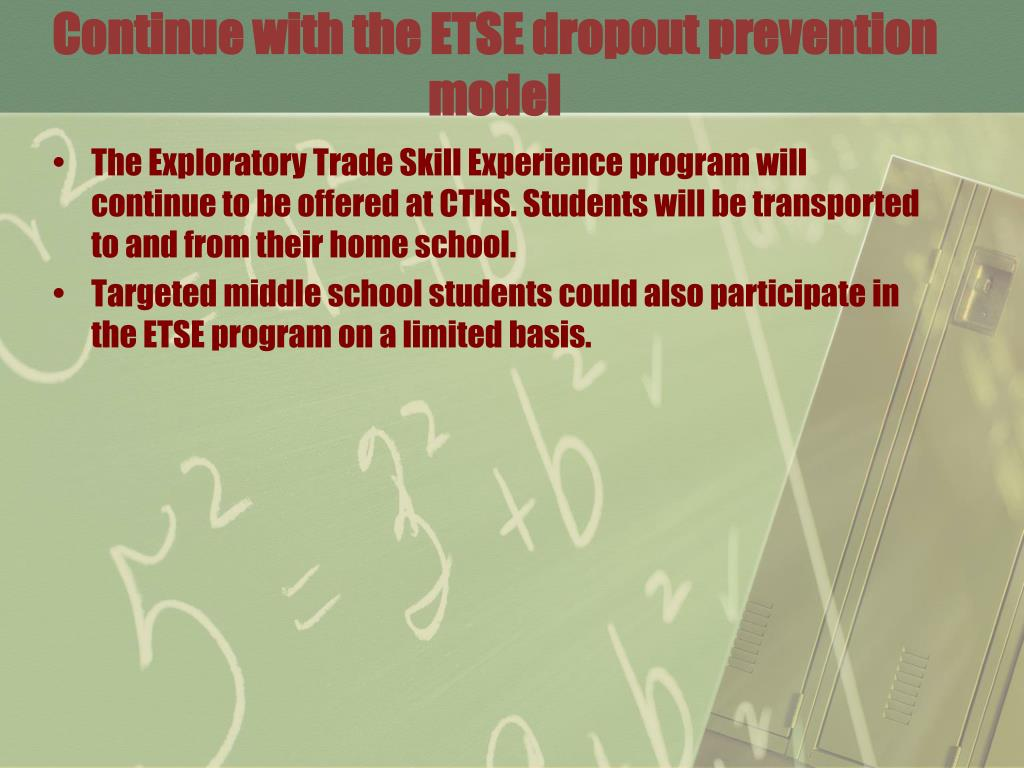 Continue with the ETSE dropout prevention model