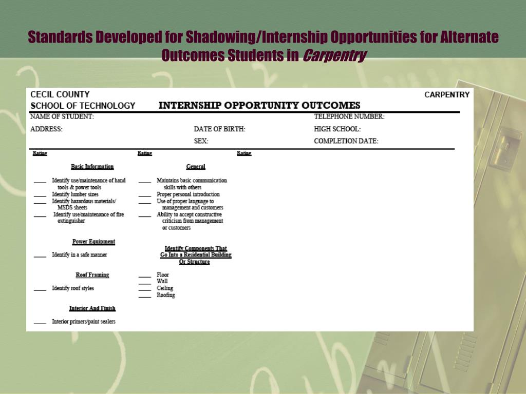 Standards Developed for Shadowing/Internship Opportunities for Alternate Outcomes Students in