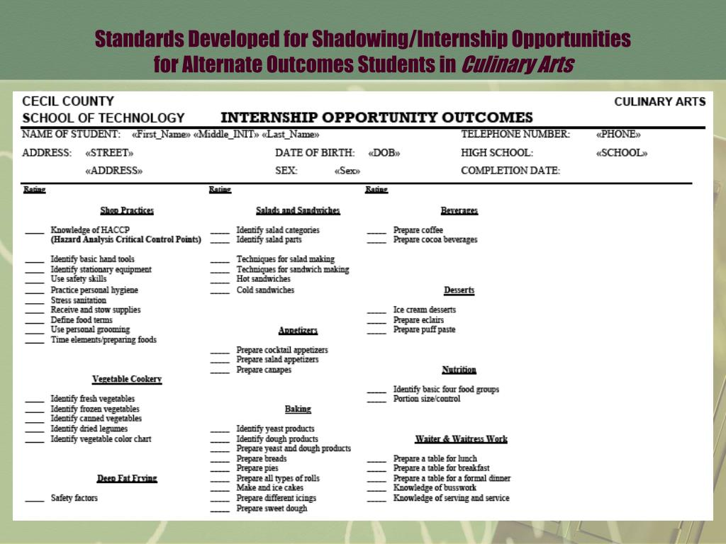 Standards Developed for Shadowing/Internship Opportunities