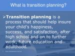 what is transition planning