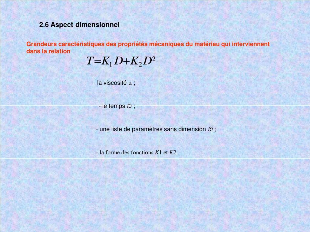 2.6 Aspect dimensionnel
