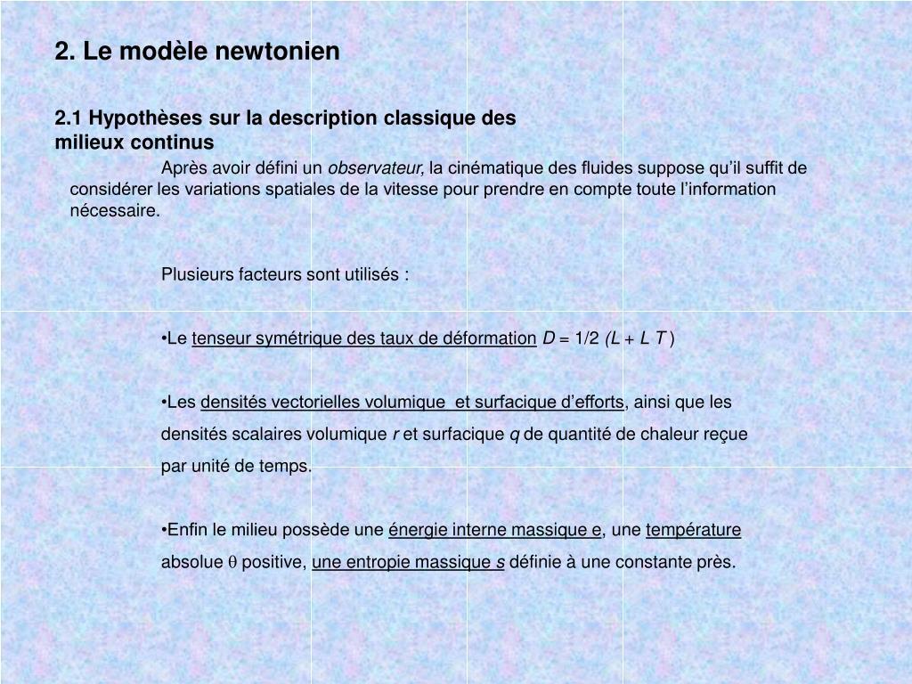 2. Le modèle newtonien