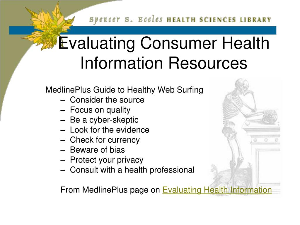 Evaluating Consumer Health Information Resources