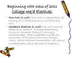 beginning with class of 2011 college req d electives
