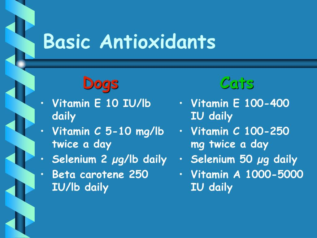 Vitamin E 10 IU/lb daily
