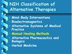 nih classification of alternative therapies46