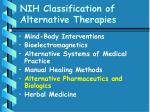 nih classification of alternative therapies49