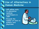 use of alternatives in human medicine20