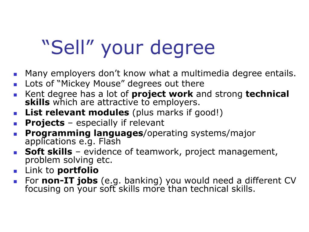 """Sell"" your degree"