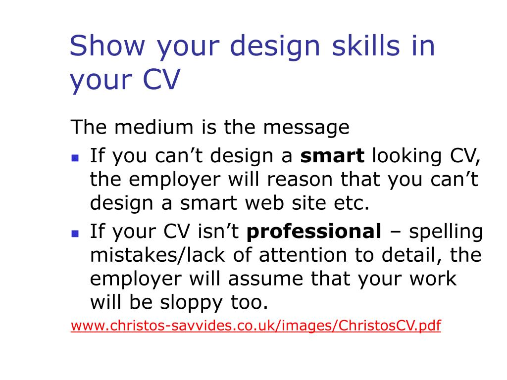 Show your design skills in your CV