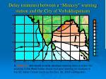 delay minutes between a minicoy warning station and the city of vishakhapatnam