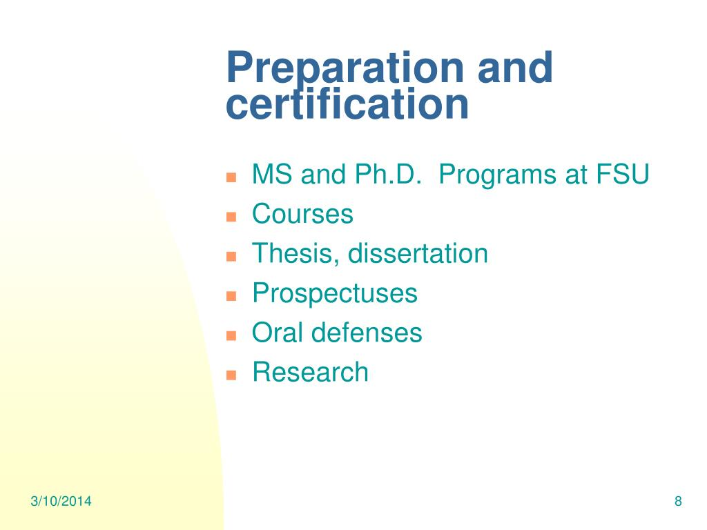 Preparation and certification