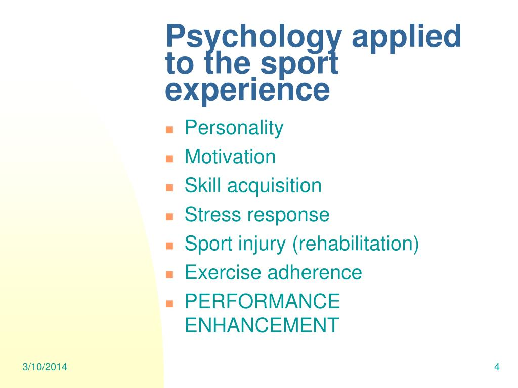 Psychology applied to the sport experience