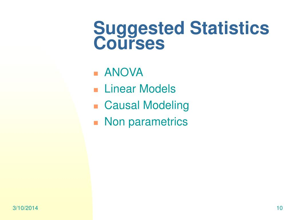 Suggested Statistics Courses