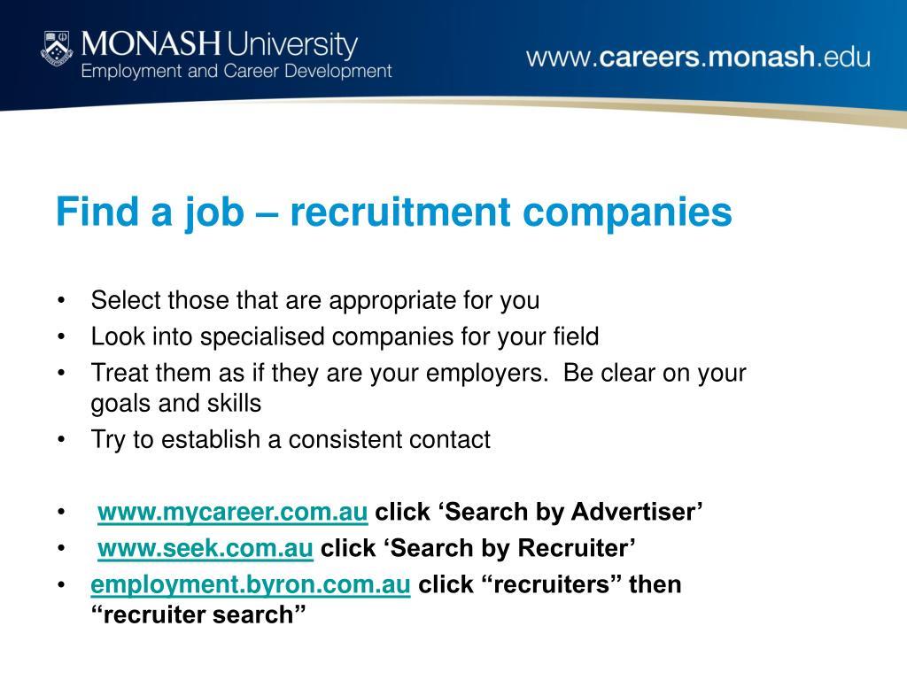 Find a job – recruitment companies