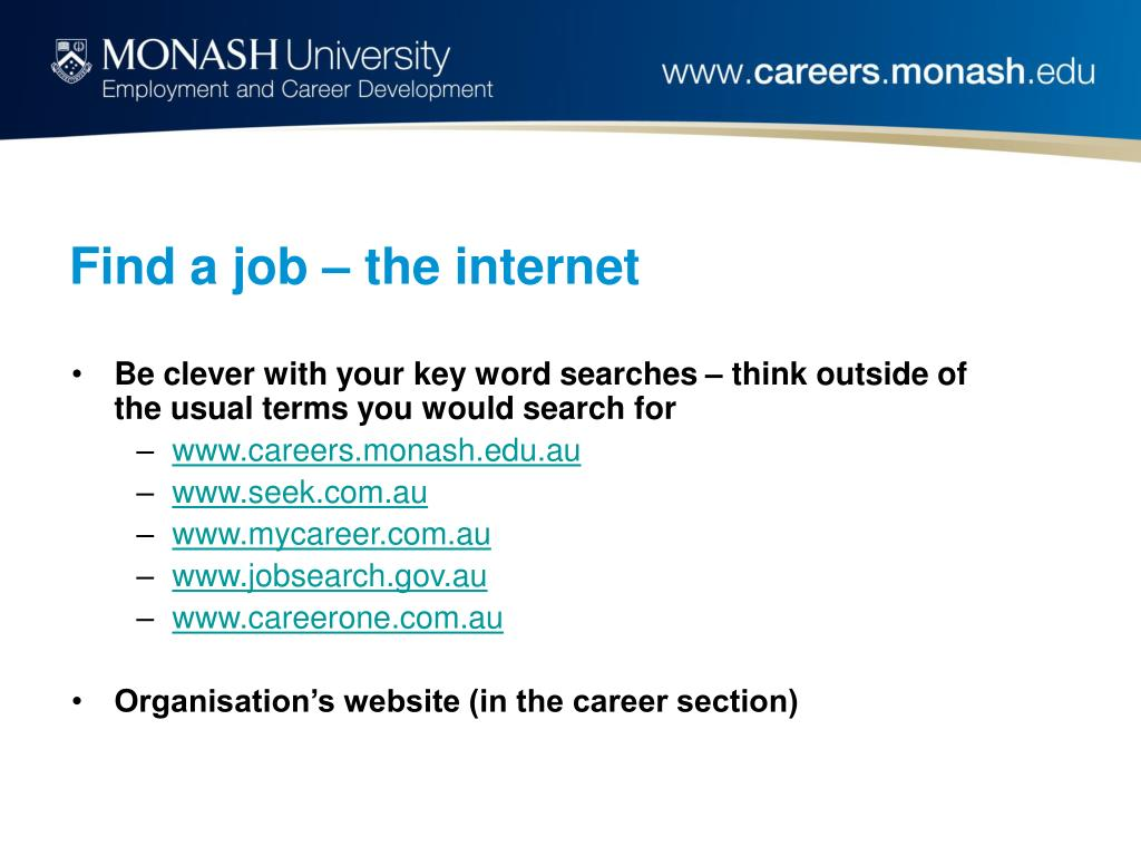 Find a job – the internet