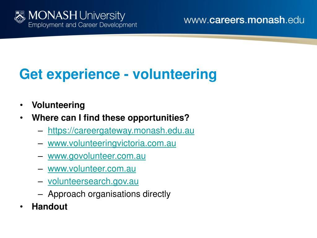 Get experience - volunteering