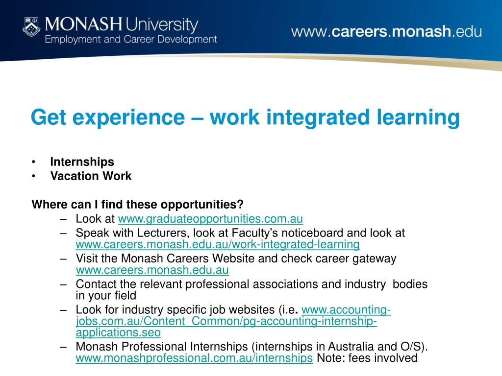 Get experience – work integrated learning
