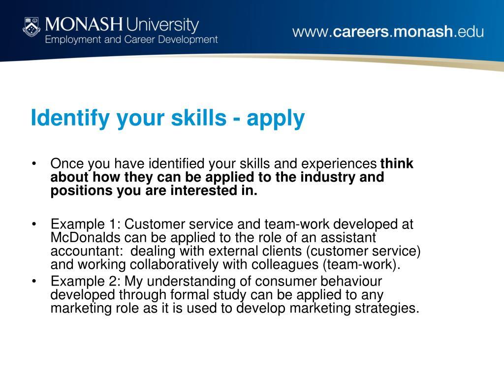 Identify your skills - apply