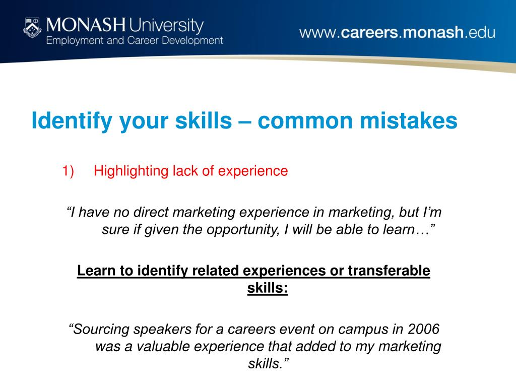 Identify your skills – common mistakes