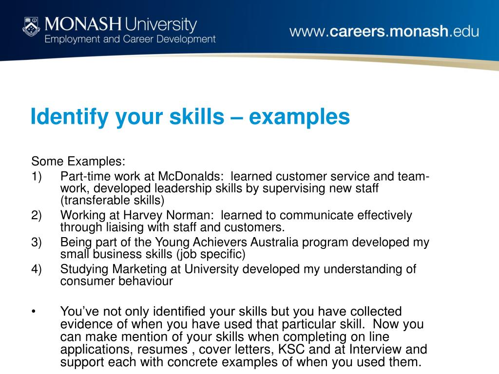 Identify your skills – examples
