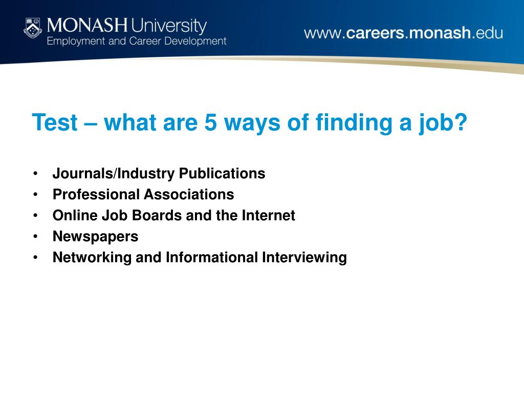 Test – what are 5 ways of finding a job?