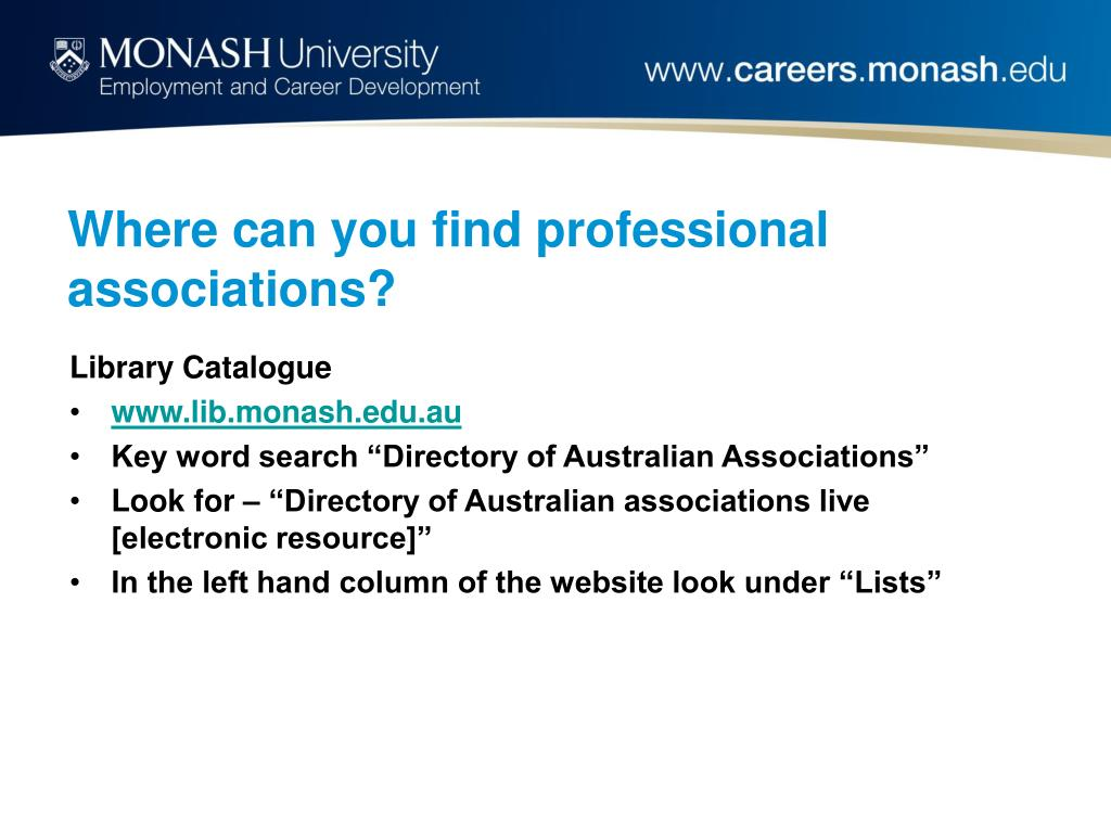 Where can you find professional associations?