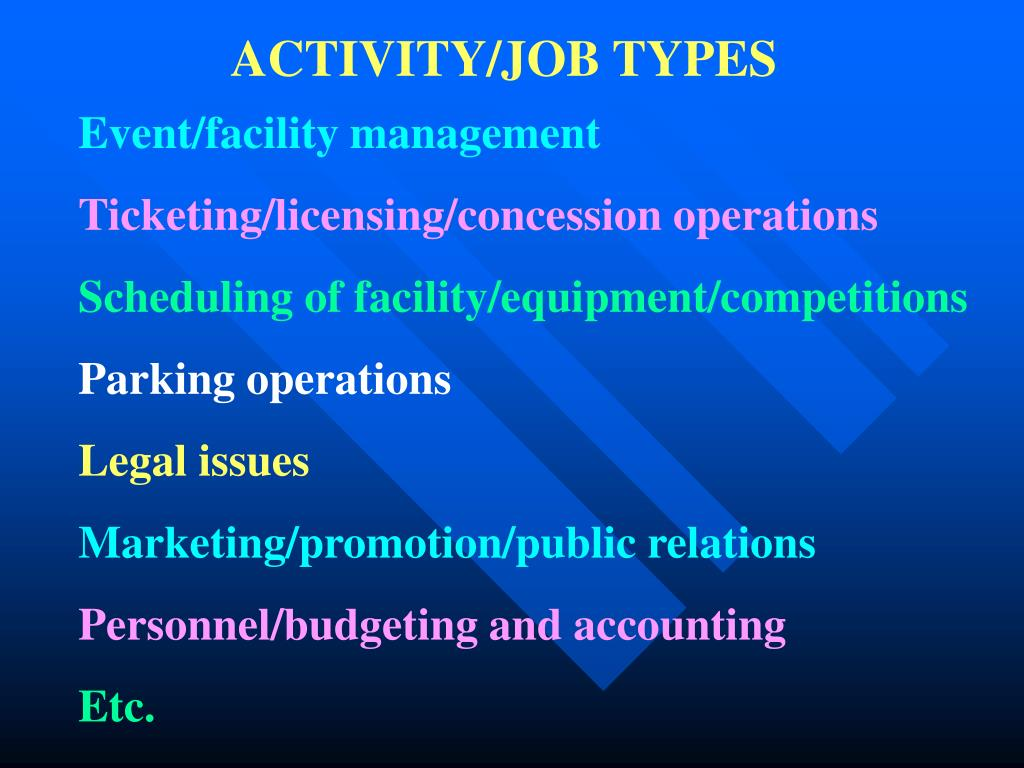 ACTIVITY/JOB TYPES