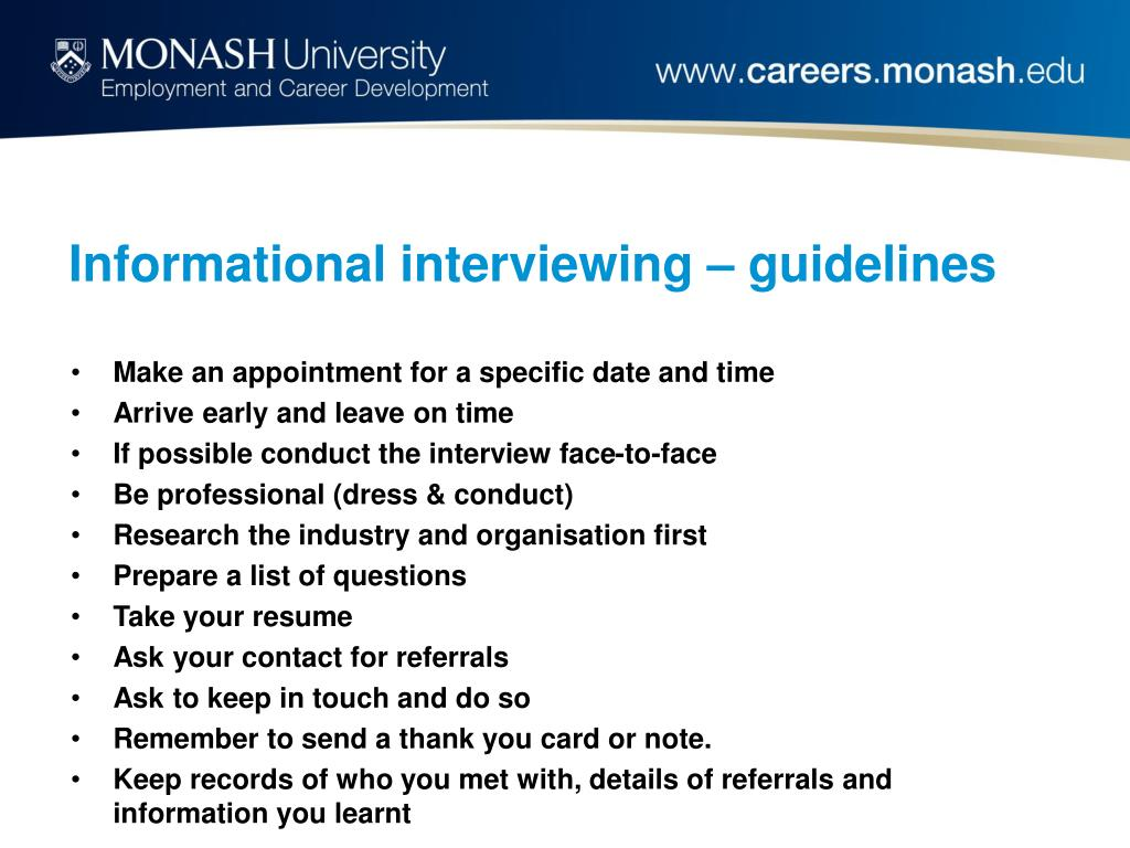 Informational interviewing – guidelines
