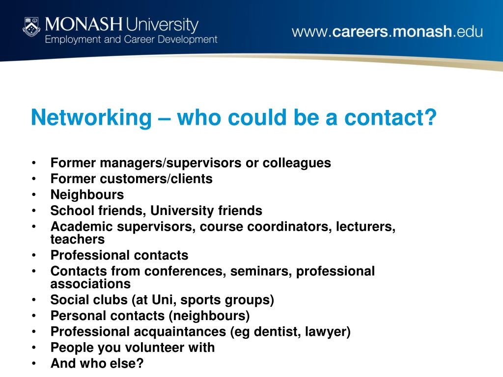 Networking – who could be a contact?