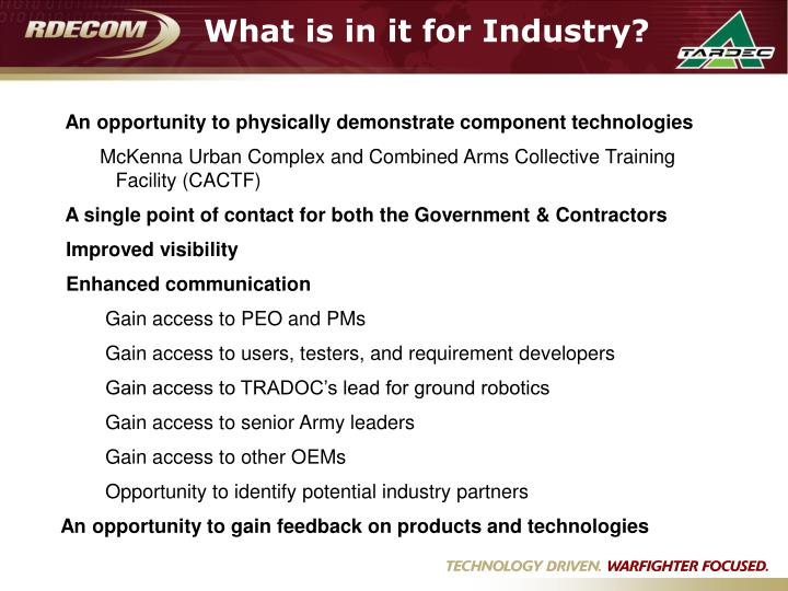 What is in it for industry