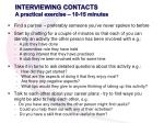 interviewing contacts a practical exercise 10 15 minutes