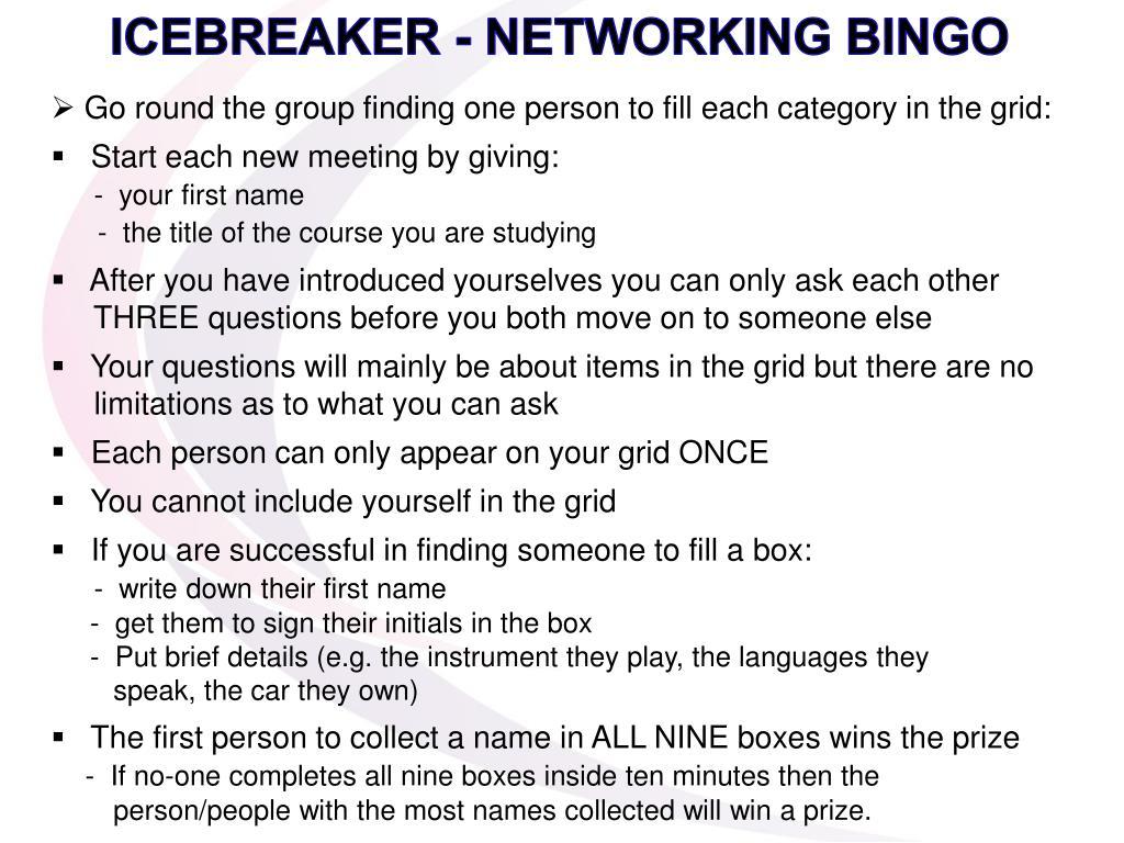 ICEBREAKER - NETWORKING BINGO